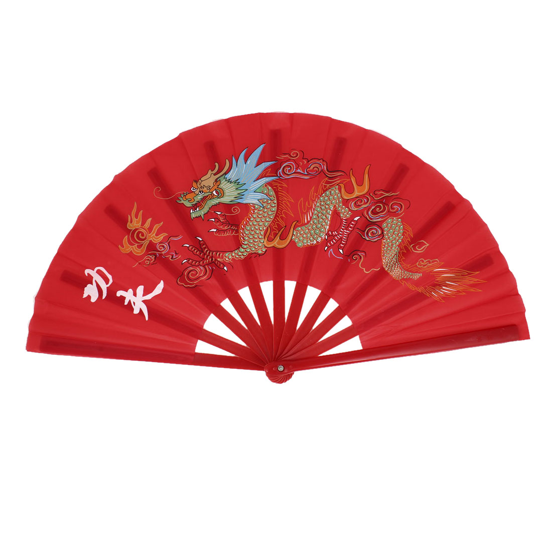 Red Handmade Plastic Frame Dragon Printed Sports Folding Hand Fan