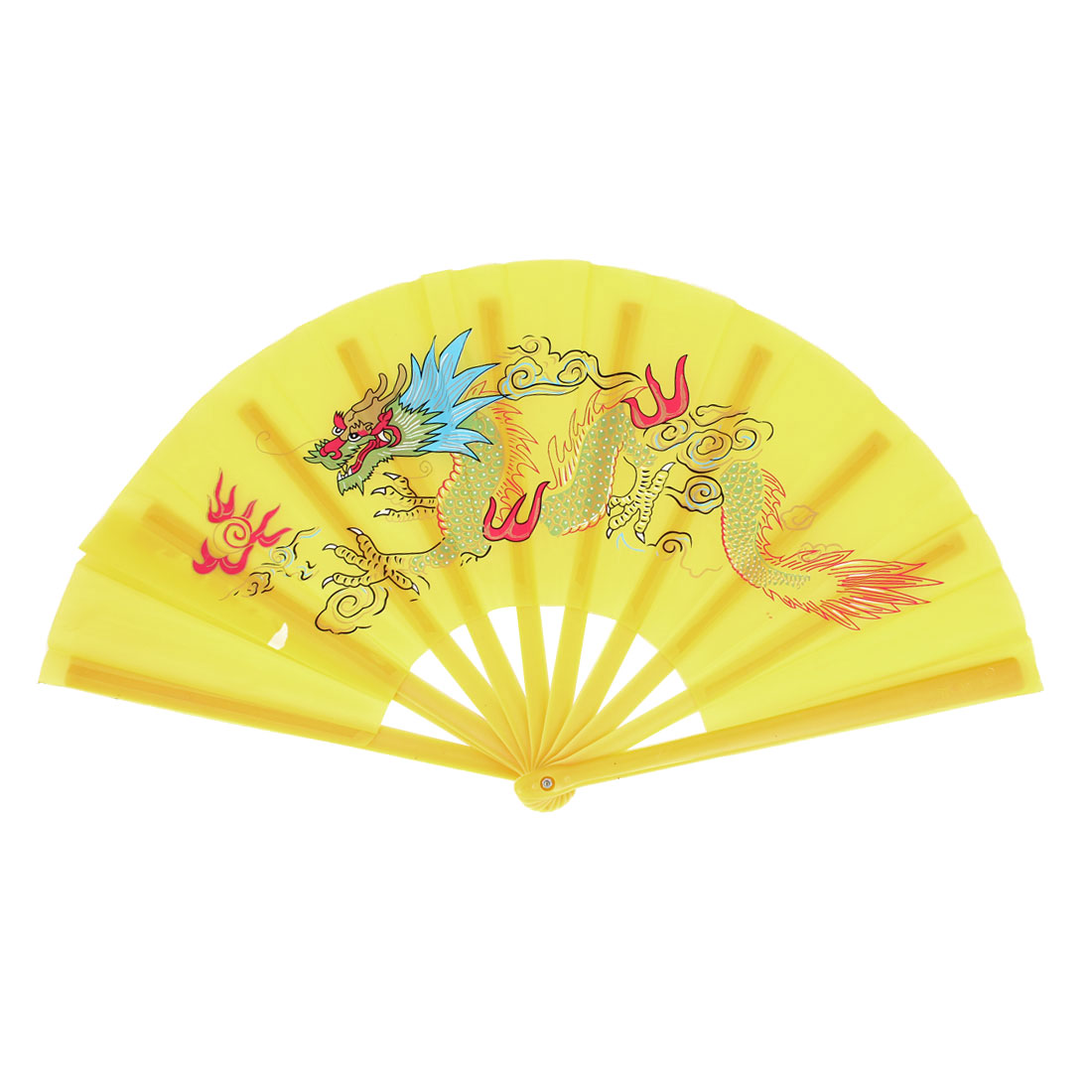 Yellow Handmade Plastic Frame Dragon Printed Folding Hand Fan