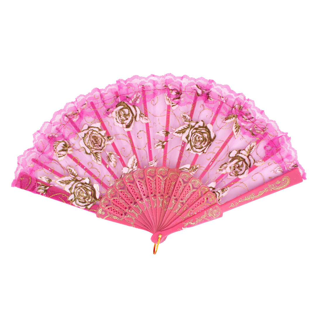 Fuchsia Carved Plastic Rib Lace Edge Rose Pattern Dancing Folding Hand Fan