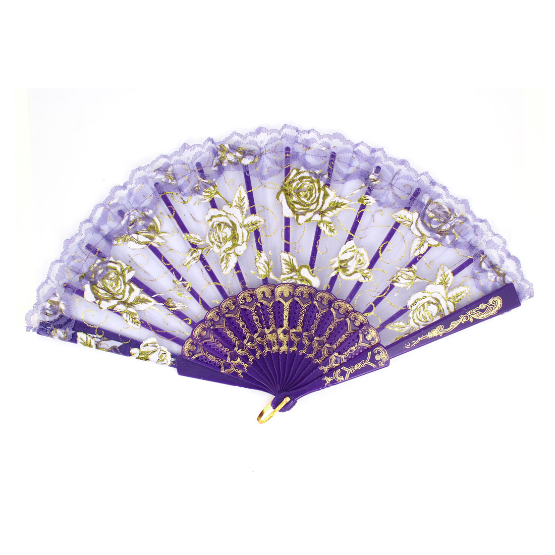 Purple Carved Plastic Rib Lace Edge Rose Pattern Dancing Folding Hand Fan