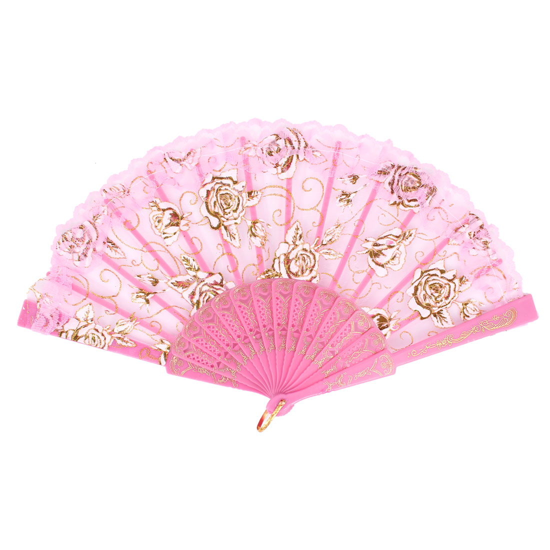 Pink Carved Plastic Rib Lace Edge Rose Pattern Dancing Folding Hand Fan