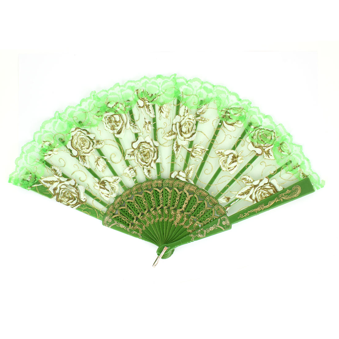 Green Carved Plastic Rib Lace Edge Rose Pattern Dancing Folding Hand Fan