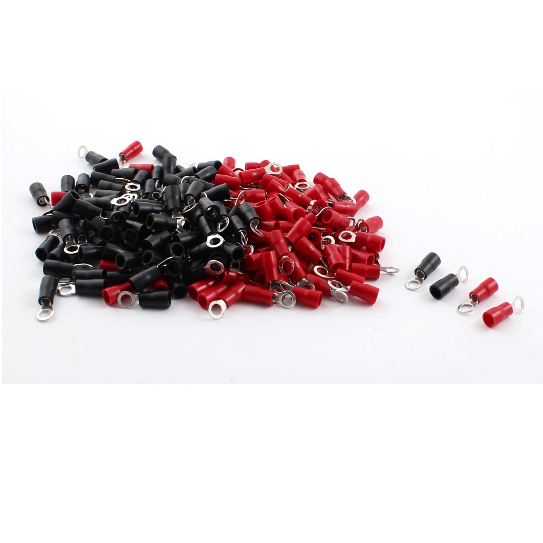 200Pcs 4.3mm Hole Insulated Ring Crimp Terminal Connectors for AWG 16-14 Cable