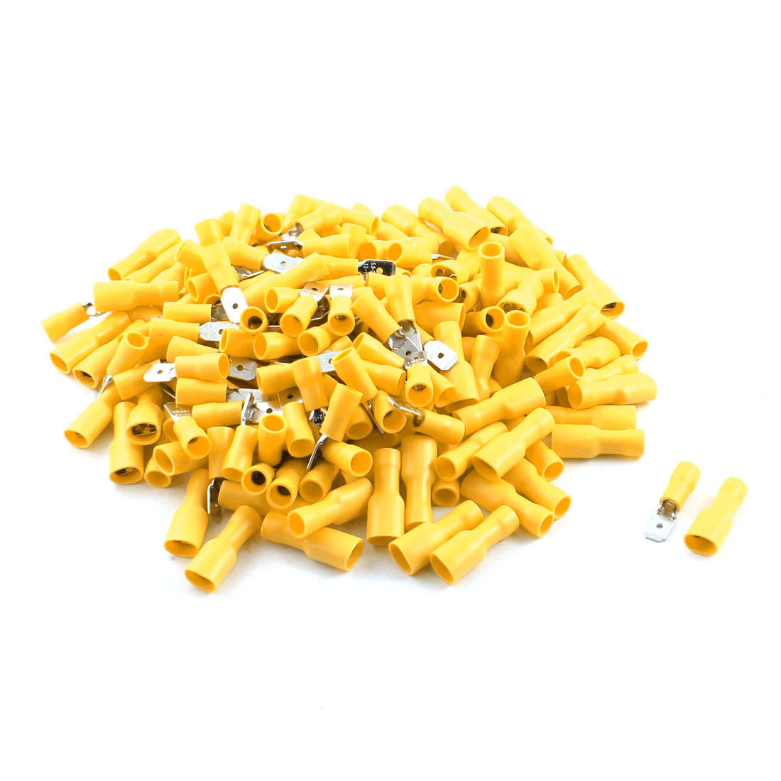 200Pcs Yellow Male Female Insulated Spade Crimp Terminals for AWG 12-10 Cable