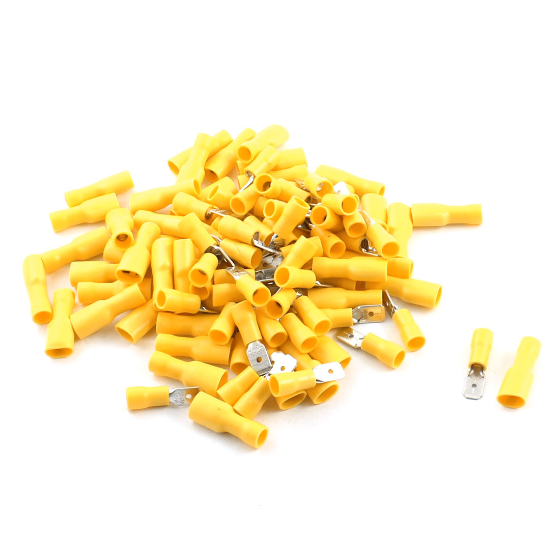 100Pcs Yellow Male Female Insulated Spade Crimp Terminals for AWG 12-10 Cable