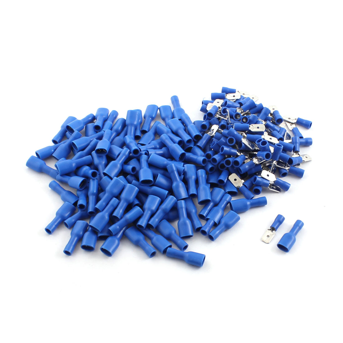 200Pcs AWG 16-14 Wire Insulated Male Female Spade Crimp Terminal Connectors Blue
