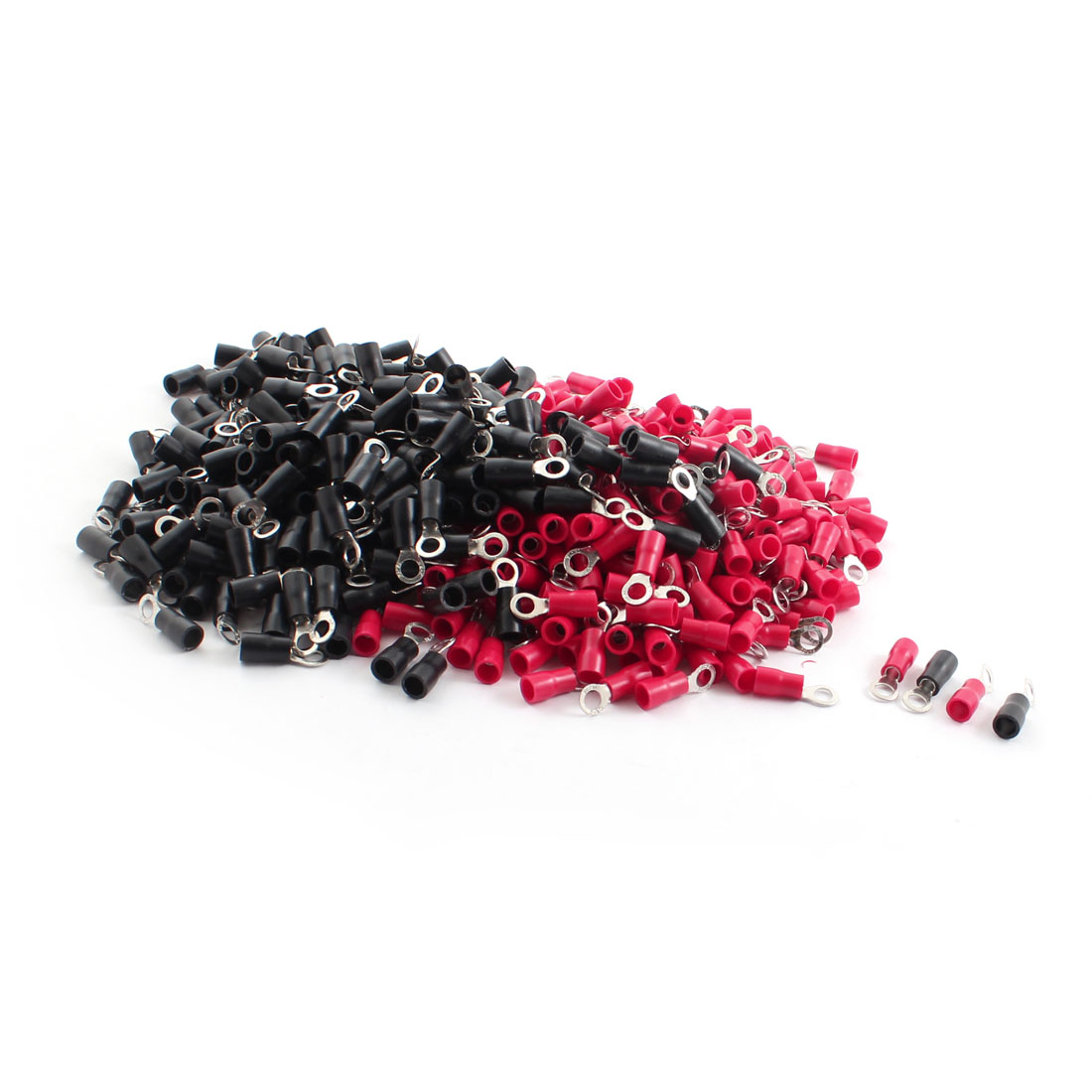 600Pcs 4.3mm Hole Insulated Ring Crimp Terminal Connectors for AWG 16-14 Wire