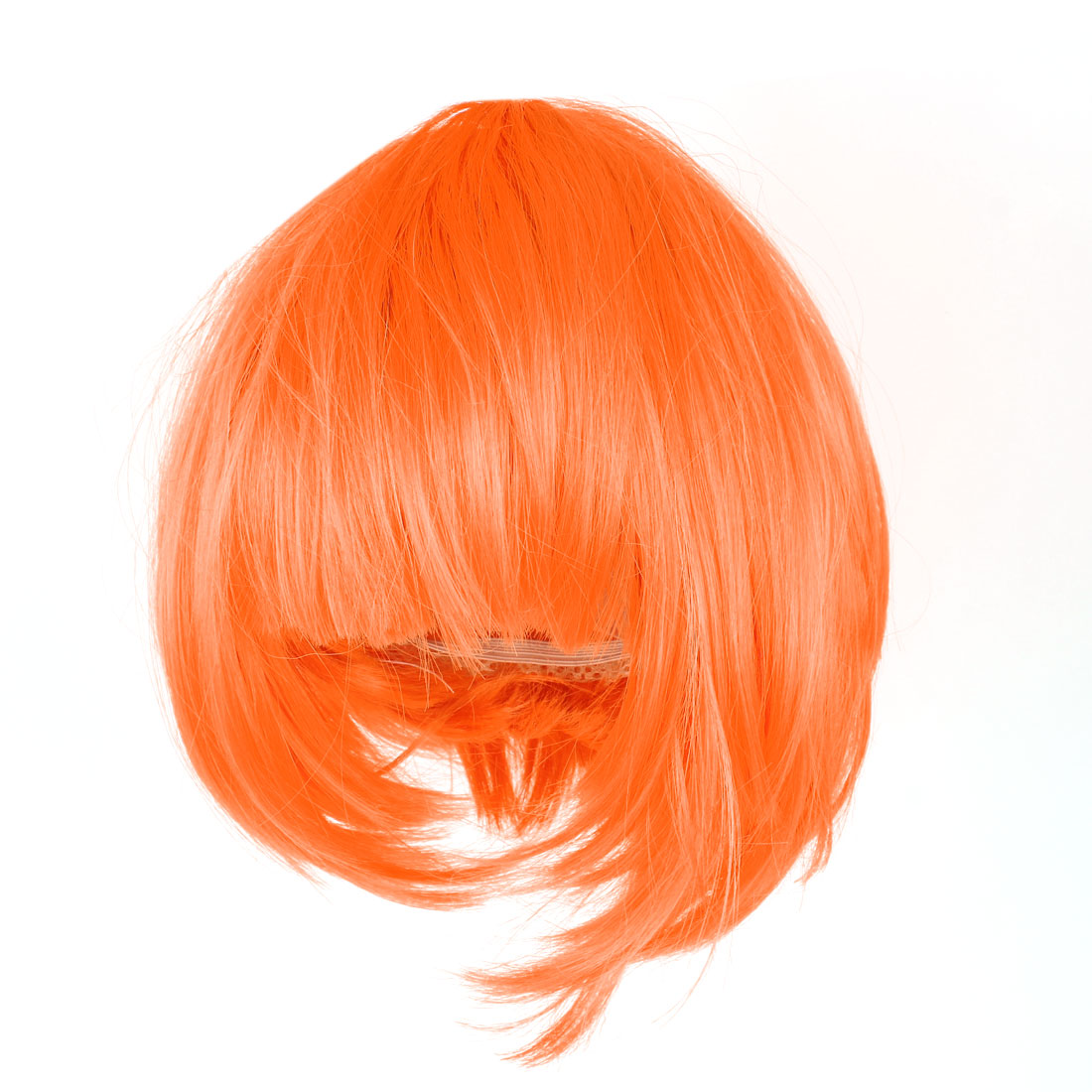 Lady Cosplay Party Short Straight Hairpiece Flat Bangs Hair Full Wig Orange Red