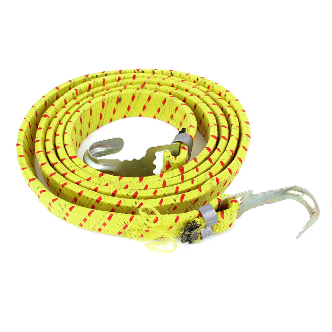 "Car Bike Metal Hook Elastic Bungee Cord Striped Luggage Rope Yellow Red 60""x0.7"""
