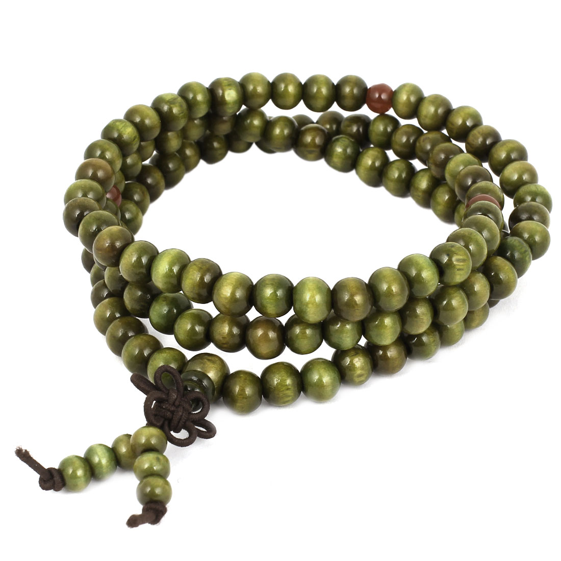 "30"" Long Army Green Plastic Elastic Beads Wrist Bracelet Necklace Decor for Woman"