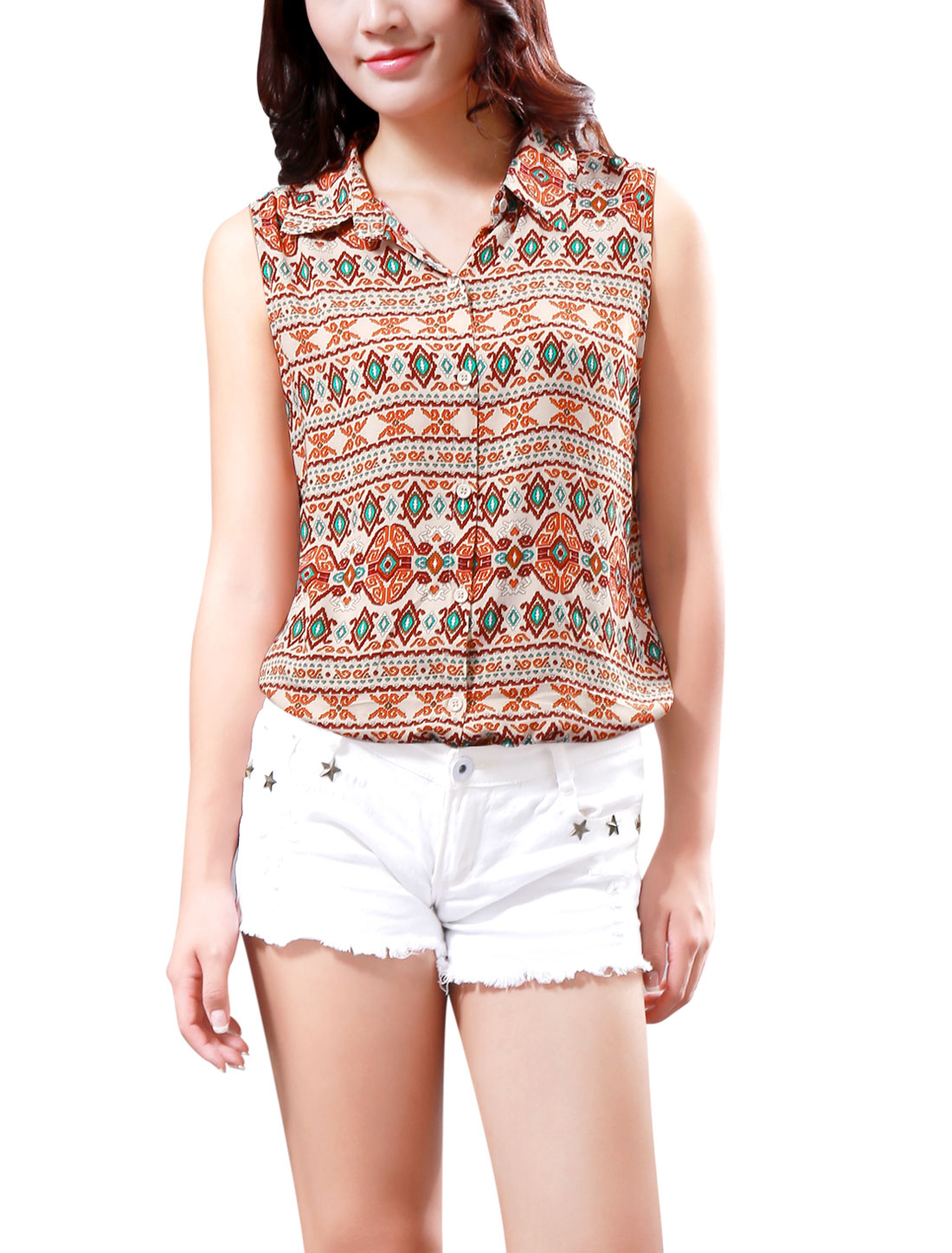 Ladies All-Over Geometric Print Sleeveless Fashion Shirt Beige M
