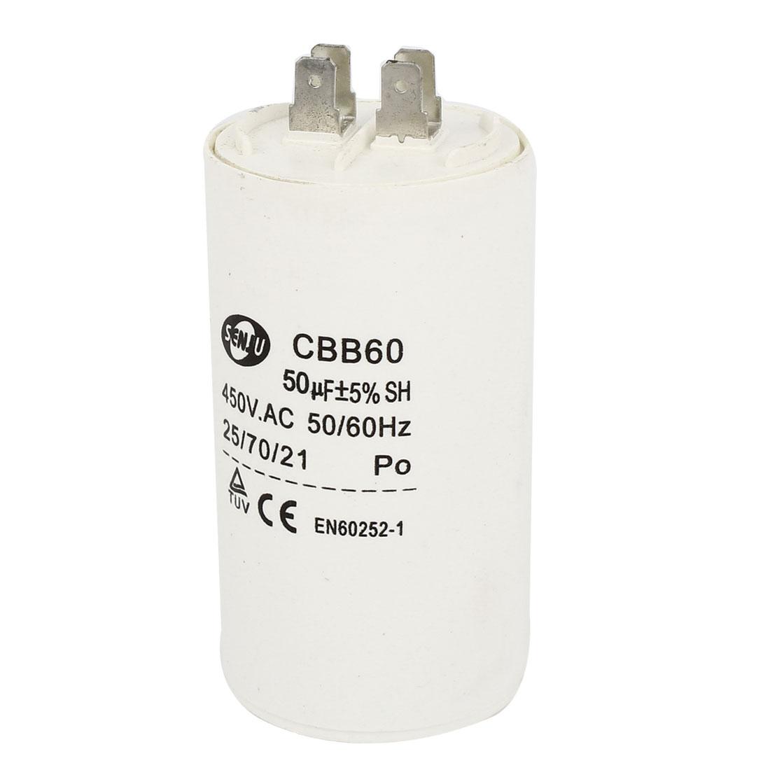 CBB60 AC 450V 50/60Hz 50uF Polypropylene Film Capacitor for Washing Machine