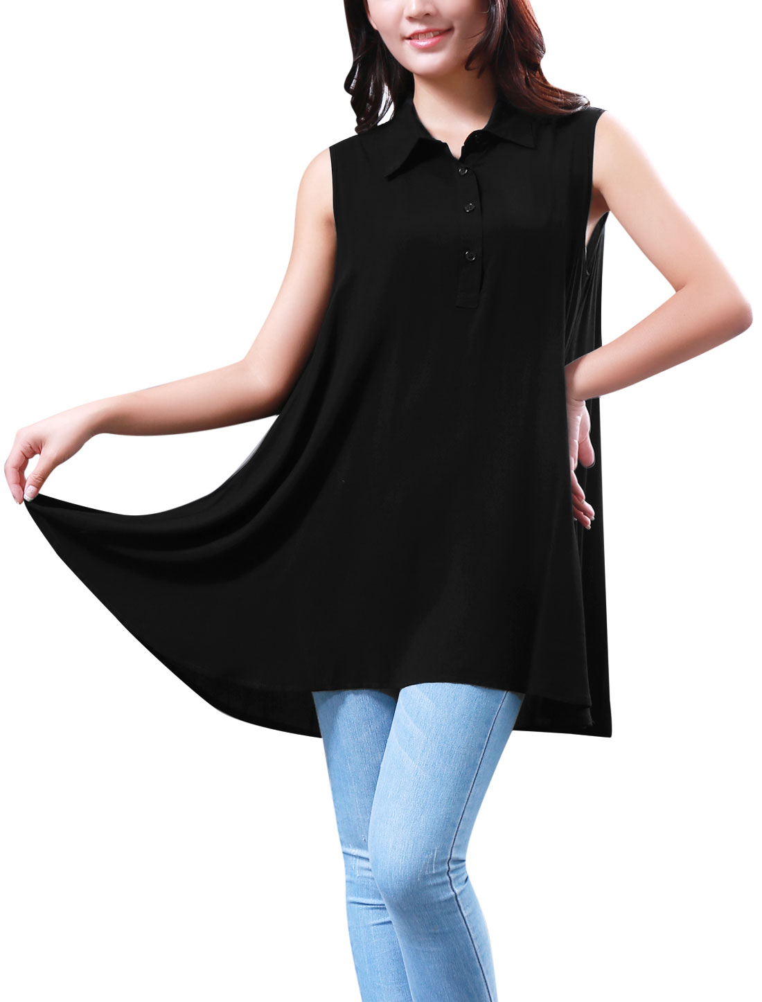 See Through Lace Spliced Back 1/2 Button Front Shirt for Woman Black S