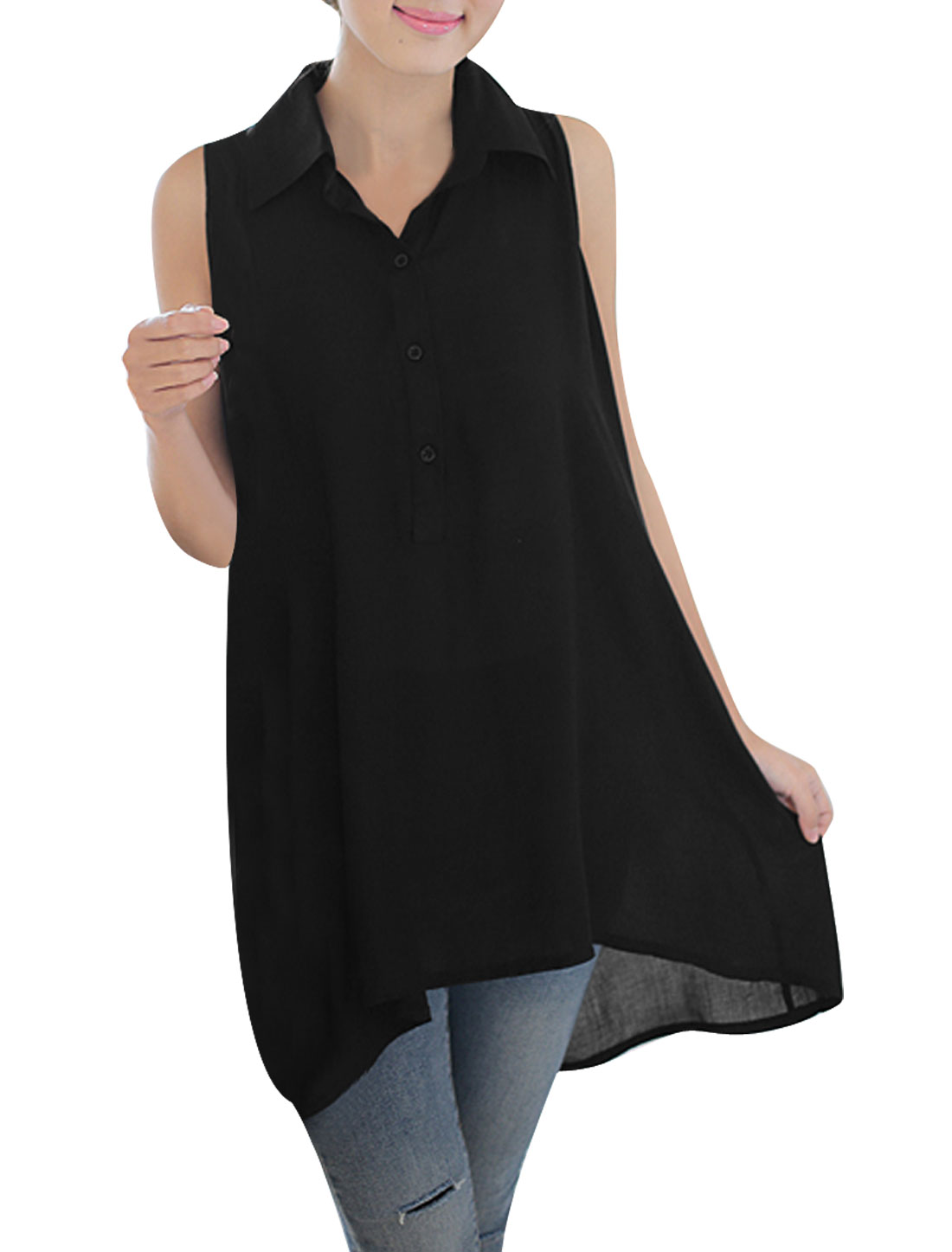 Woman Point Collar 1/2 Button Front Lace Splice Back Tunic Top Black M