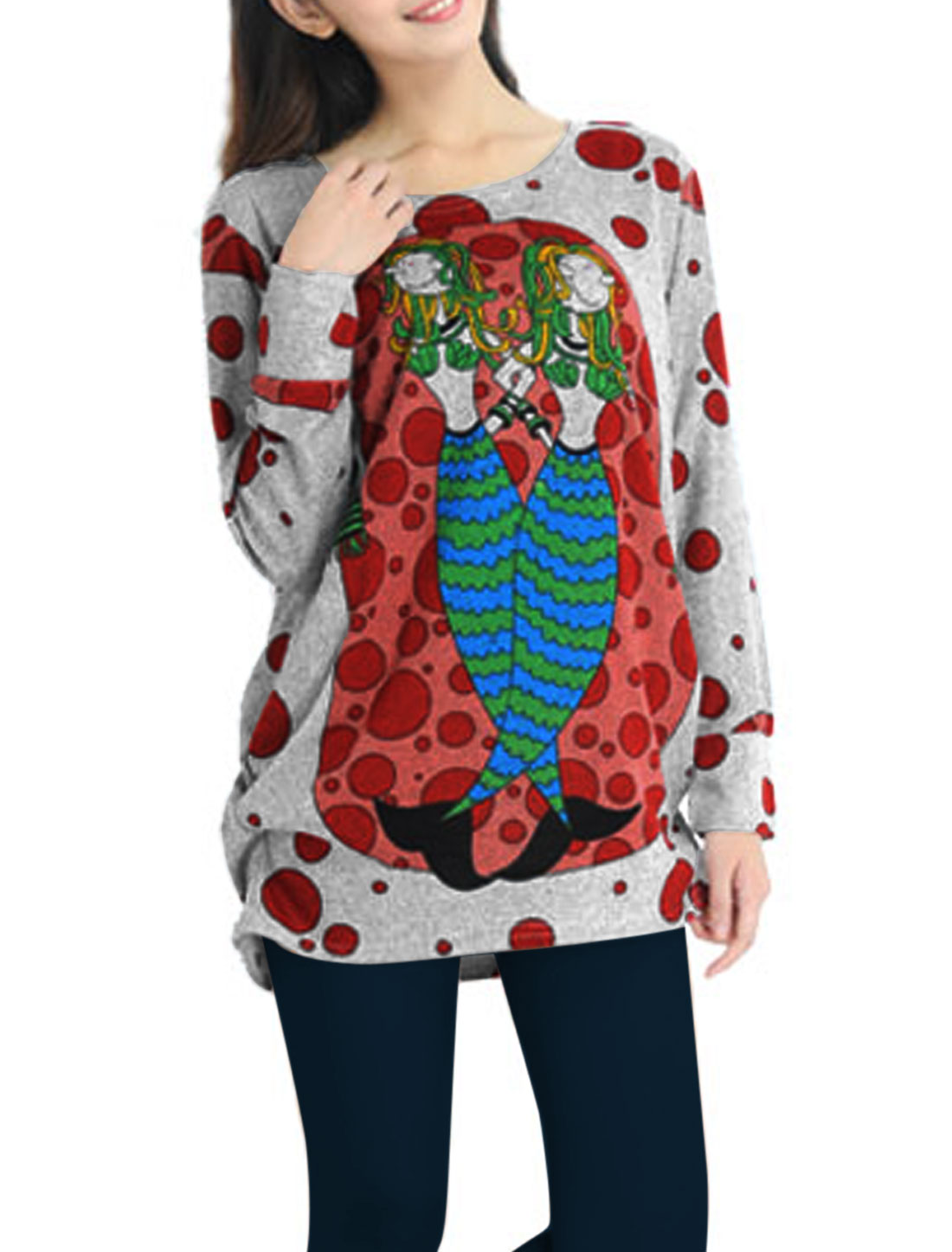 Women Cartoon Dots Pattern Long Sleeves Tunic Knit Shirt Gray L