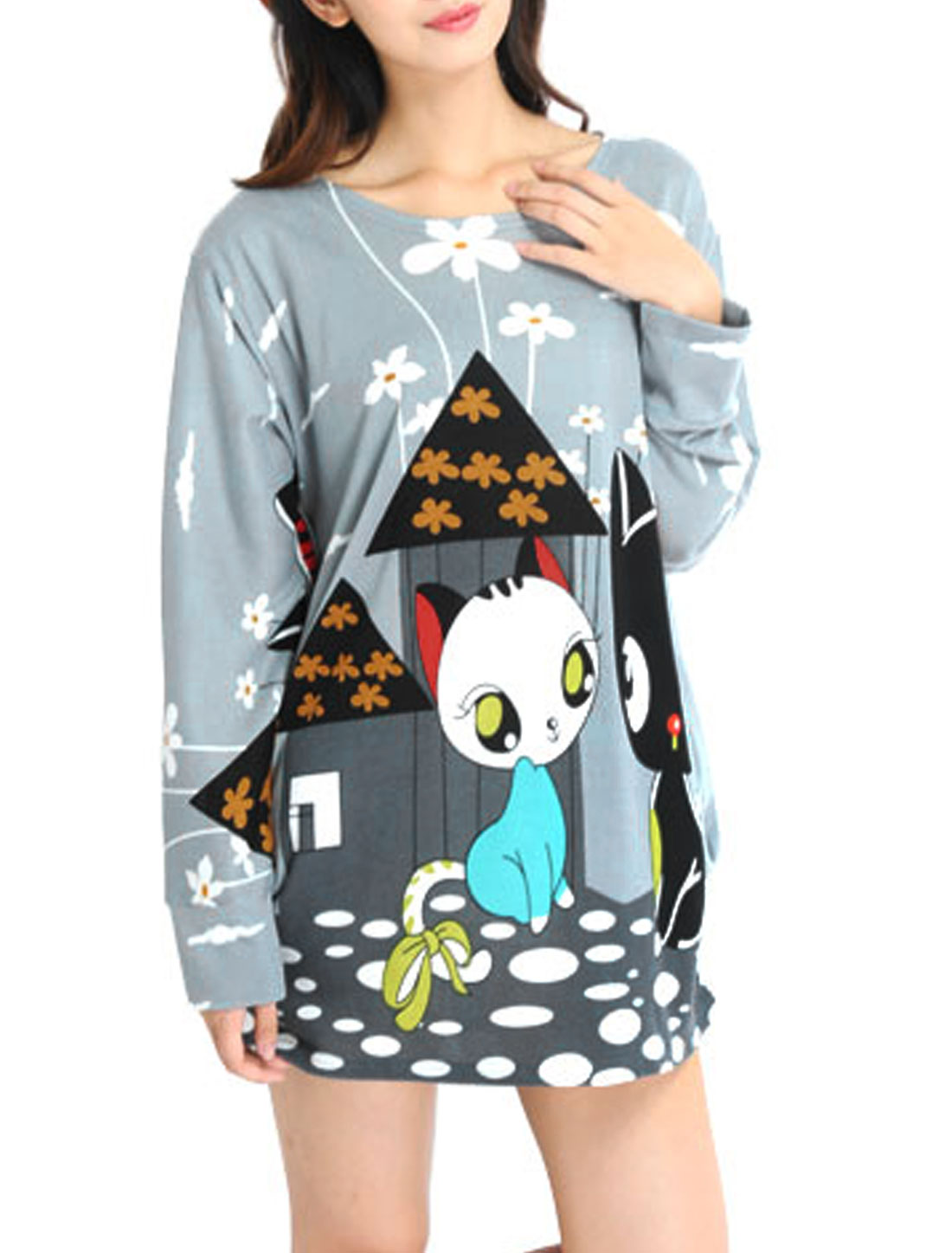 Lady Casual Floral House Pattern Cartoon Cat Pattern Shirred Side Tunic Knit Shirt Light Gray L