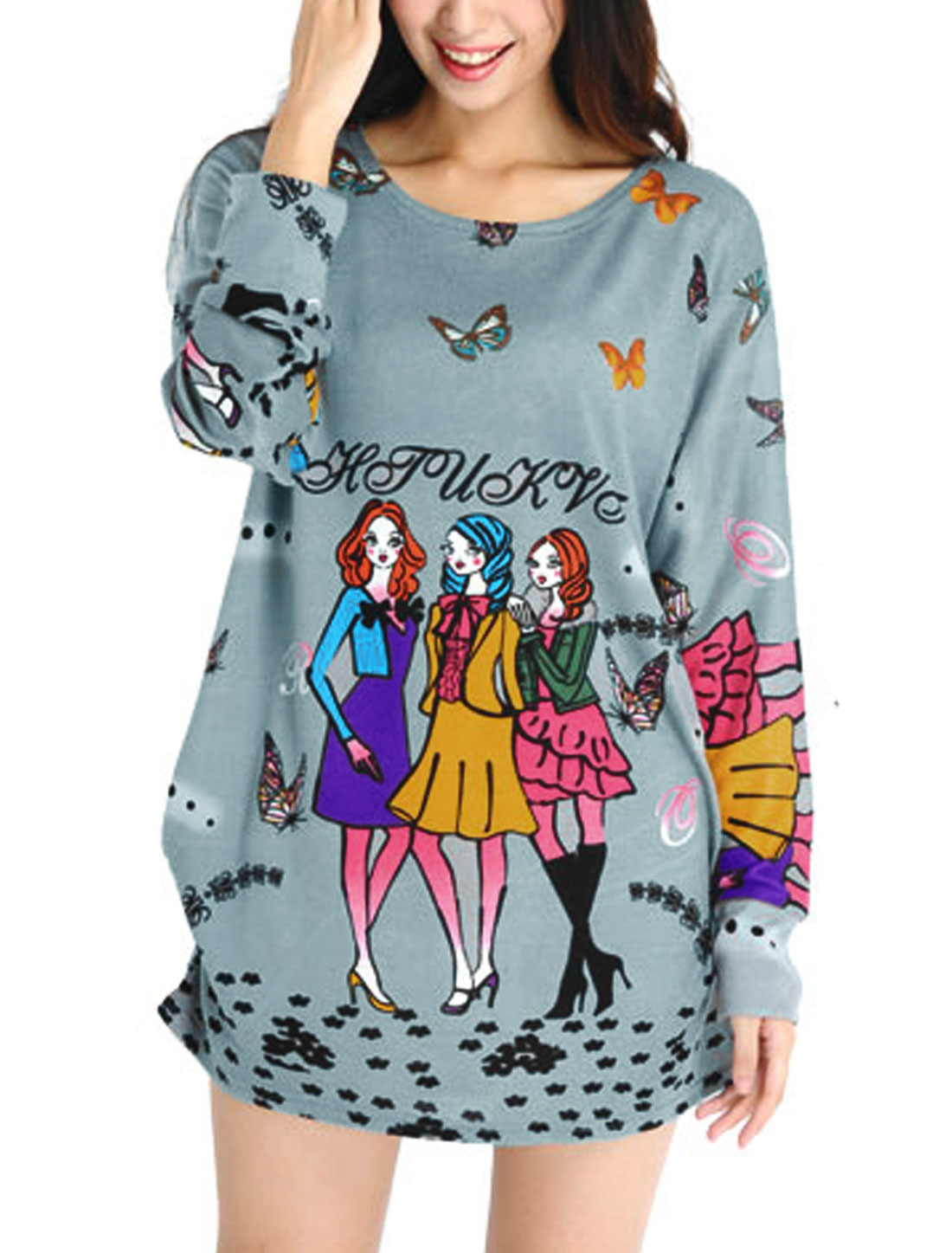 Lady Butterfly Letters Cartoon Pattern Shirred Side Leisure Tunic Knit Shirt Light Gray L