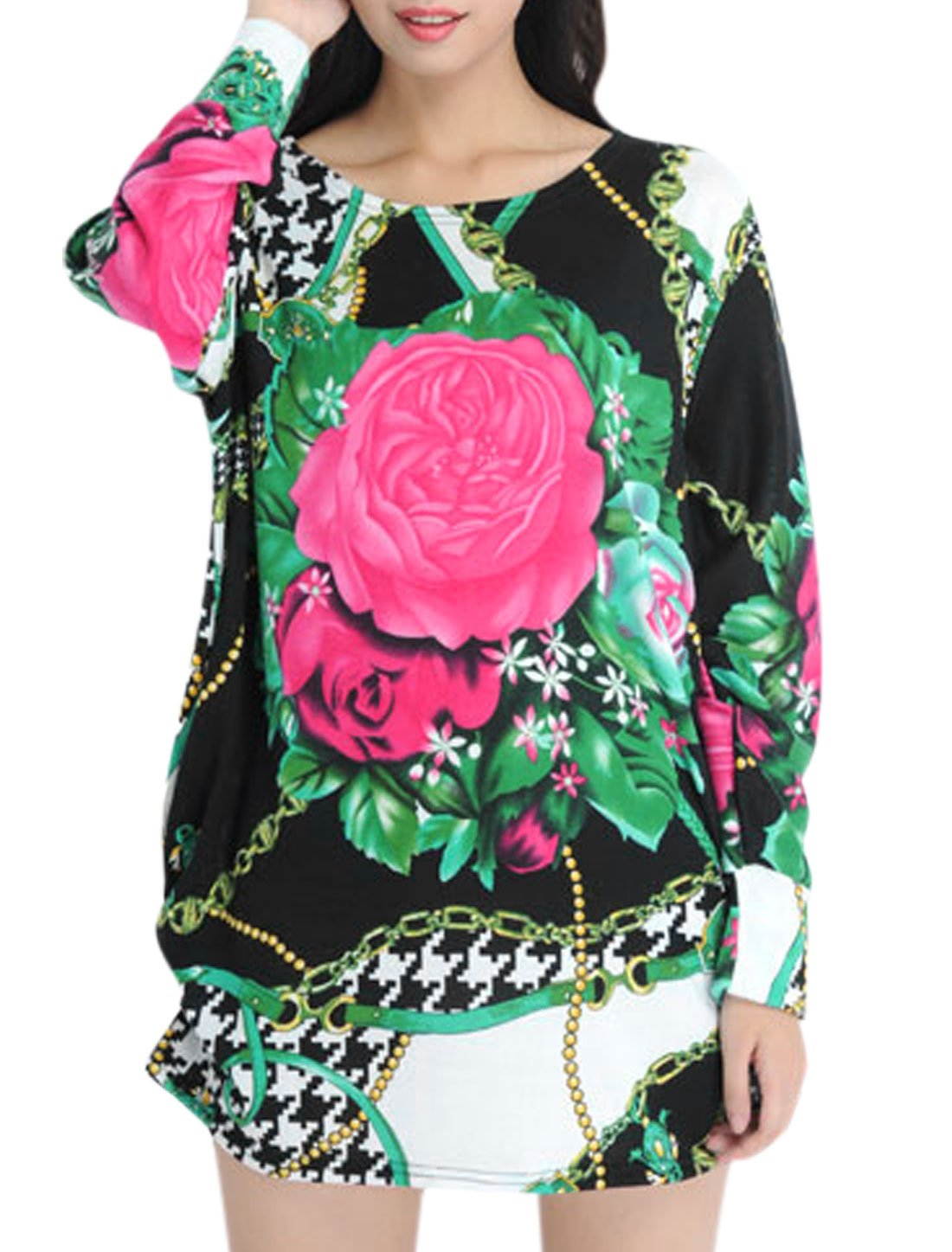 Women Floral Houndstooth Pattern Long Sleeve Tunic Knit Shirt Multicolor L
