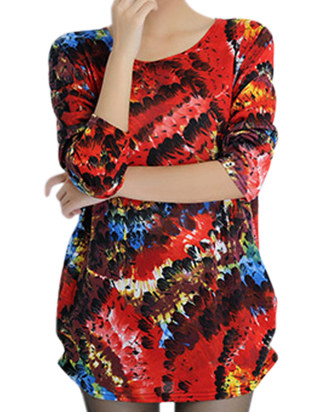 Women Floral Pattern Long Sleeves Tunic Knit Shirt Burgundy S