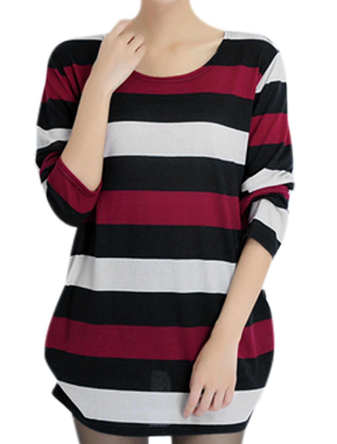 Women Round Neck Long Sleeve Stripes Loose Tunic Knit Shirt Multicolor S