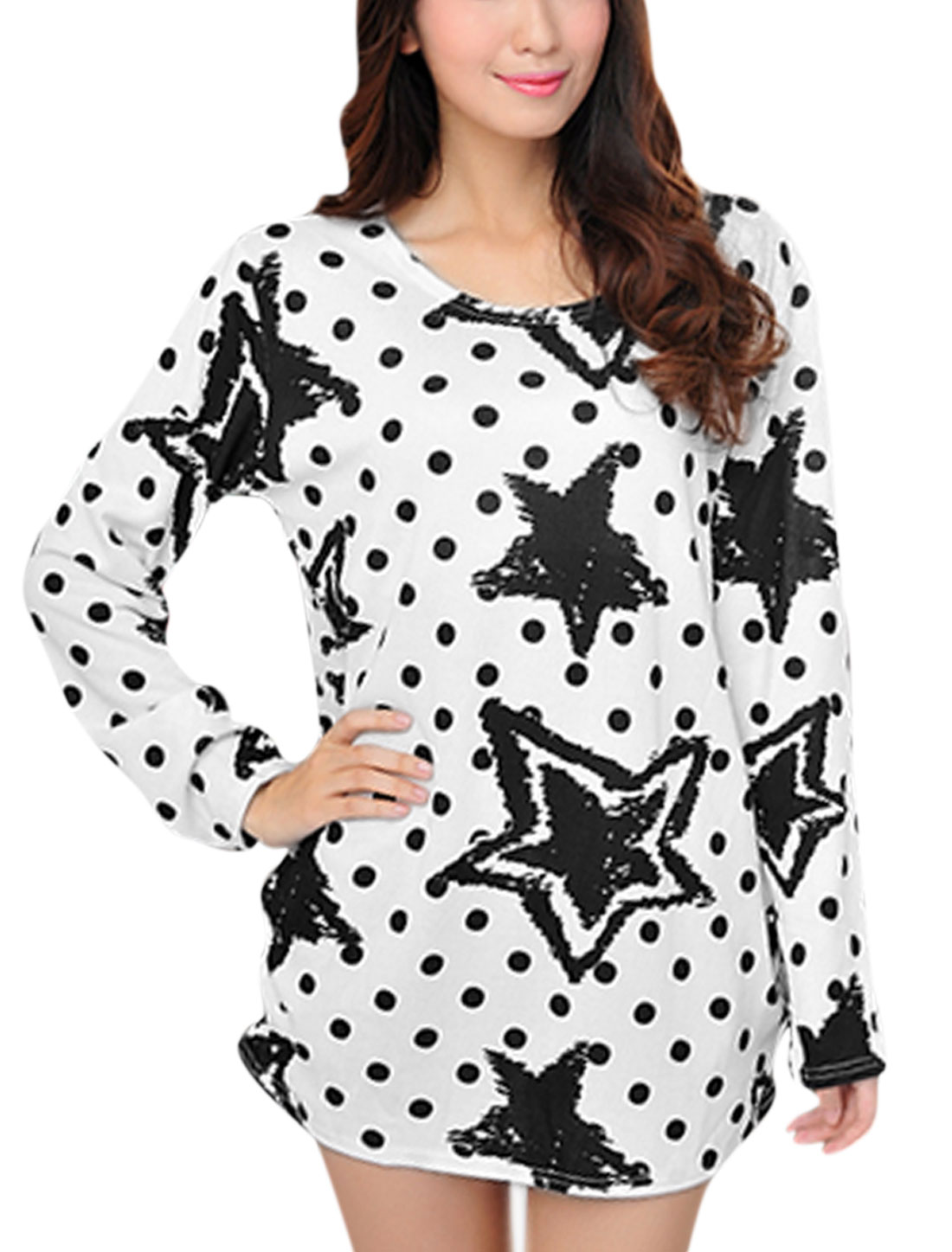 Women Stars Dots Prints Round Neck Long Sleeve Tunic Knit Shirt White S