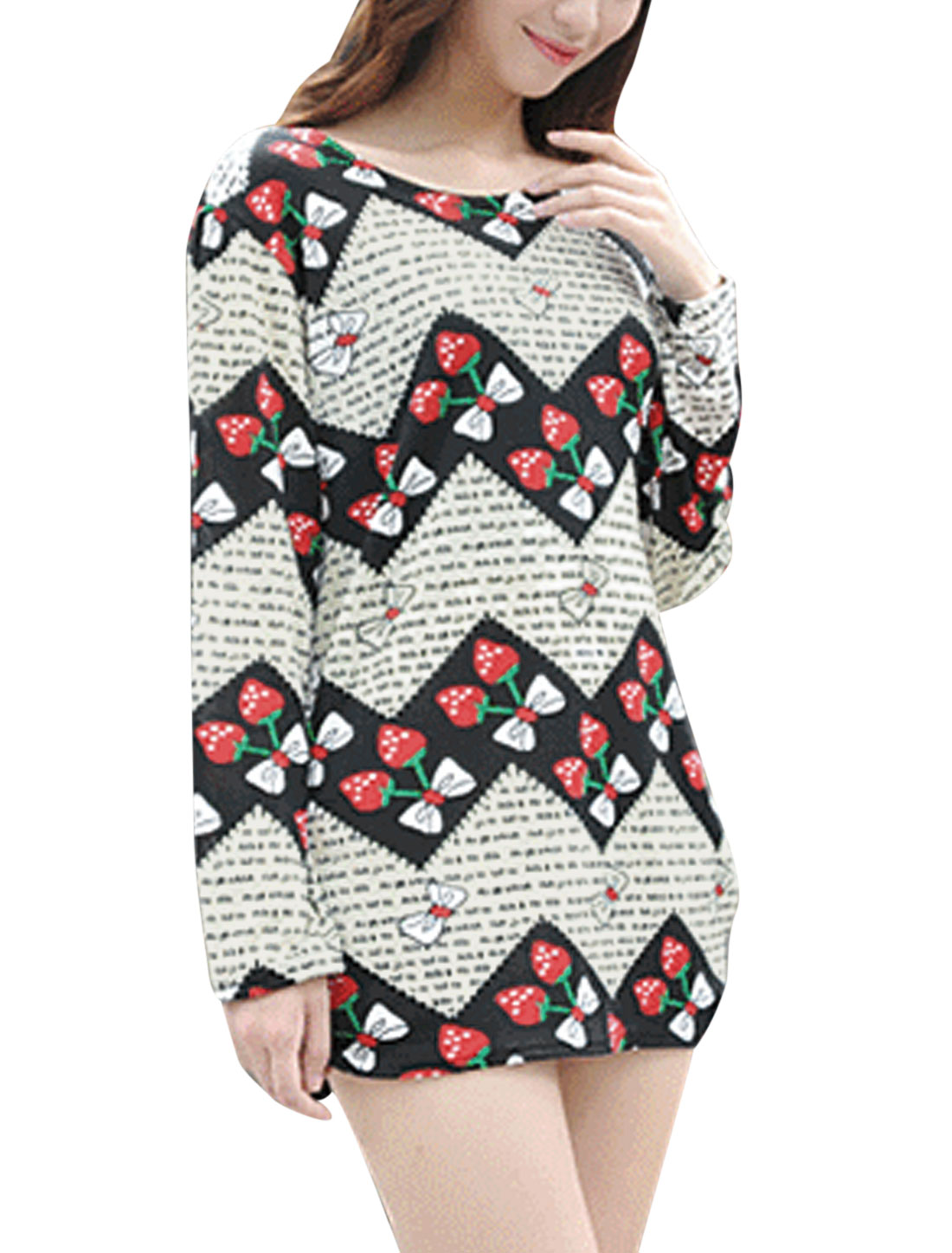 Lady Round Neck Long Sleeve Casual Blouse Multi Color S