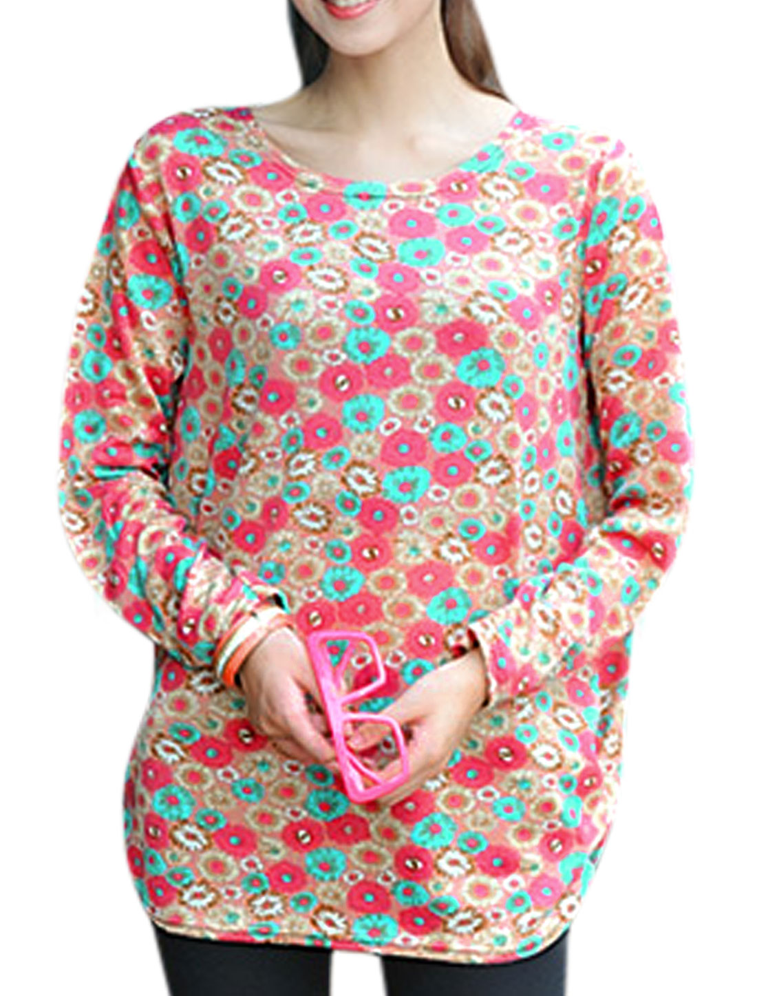 Ladies Round Neck Floral Prints Pullover Leisure Tunic Top Multi Color S