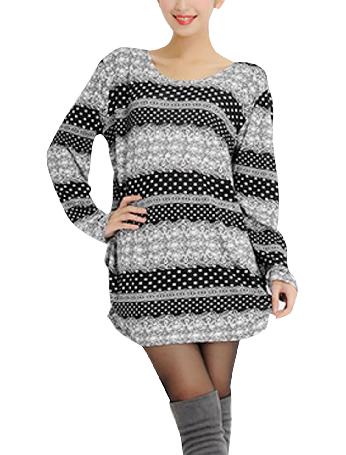 Ladies Black White Long Sleeves Round Neck Casual Top S