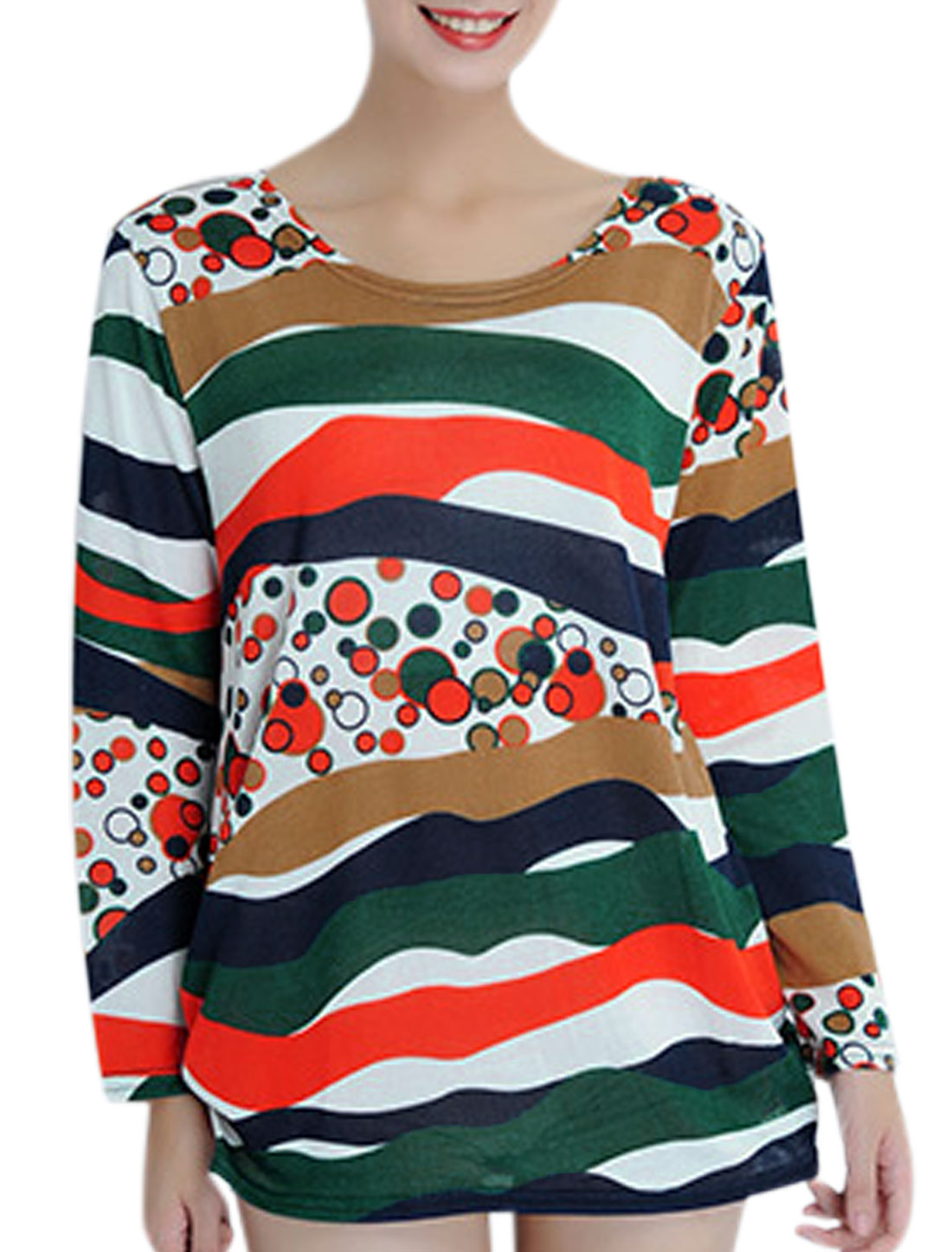 Lady Round Neck Long Sleeve Pullover Tunic Top Multi Color S