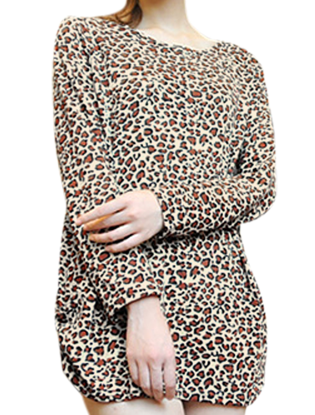 Women Leopard Pattern Long Sleeves Loose Tunic Knit Top Brown S