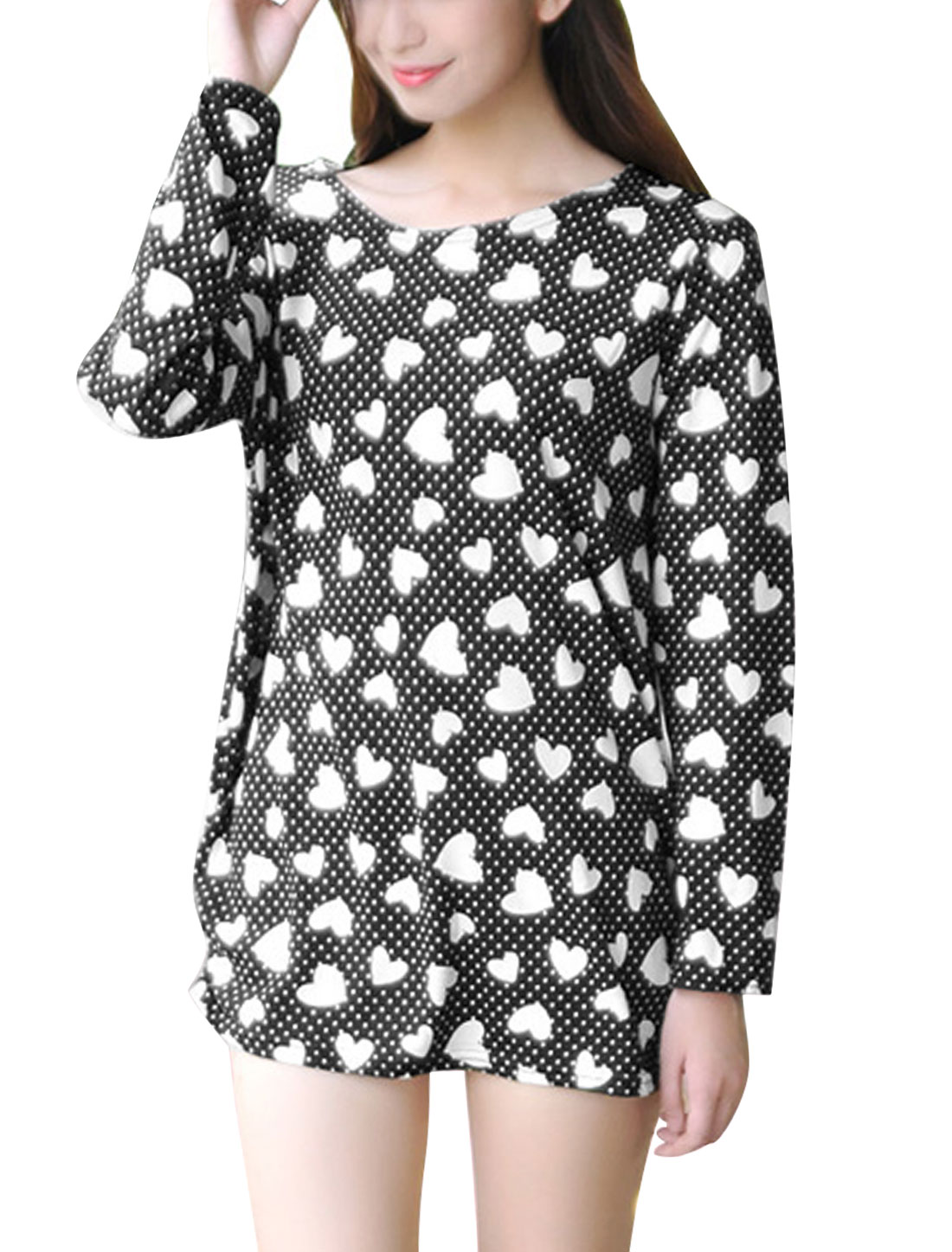 Women Hearts Pattern Long Sleeves Shirred Sides Tunic Knit Top Black S