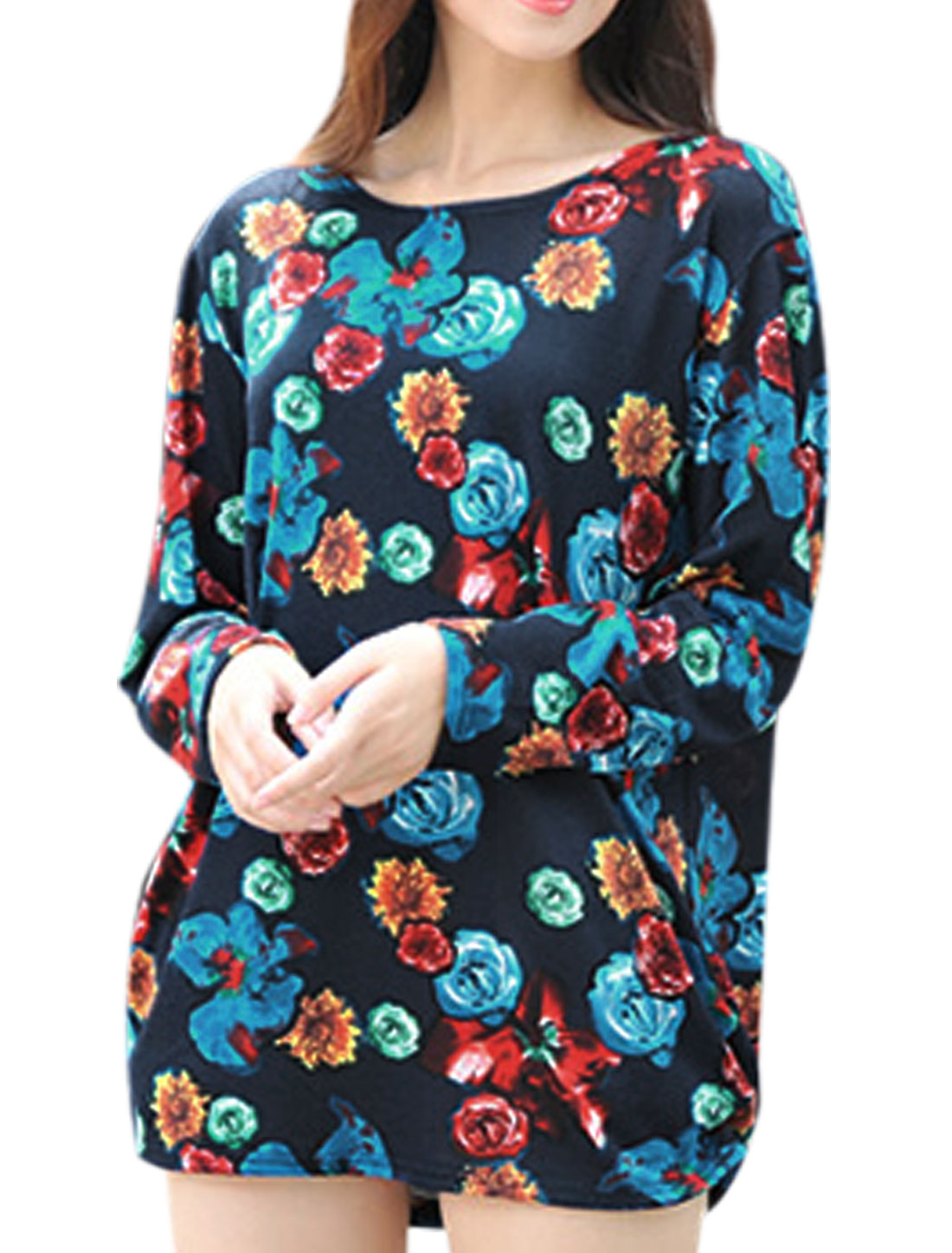 Lady Round Neck Floral Pattern Loose Fit Casual Tunic Top Multicolor S