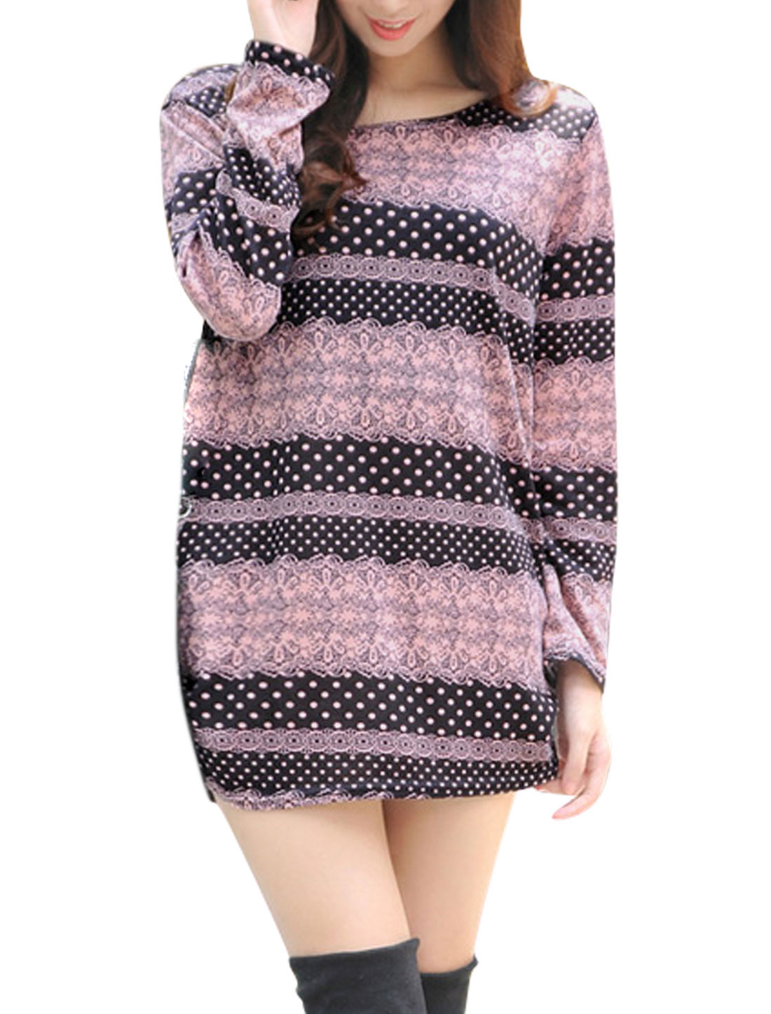 Women Dots Floral Pattern Shirred Sides Tunic Knit Top Dark Purple S