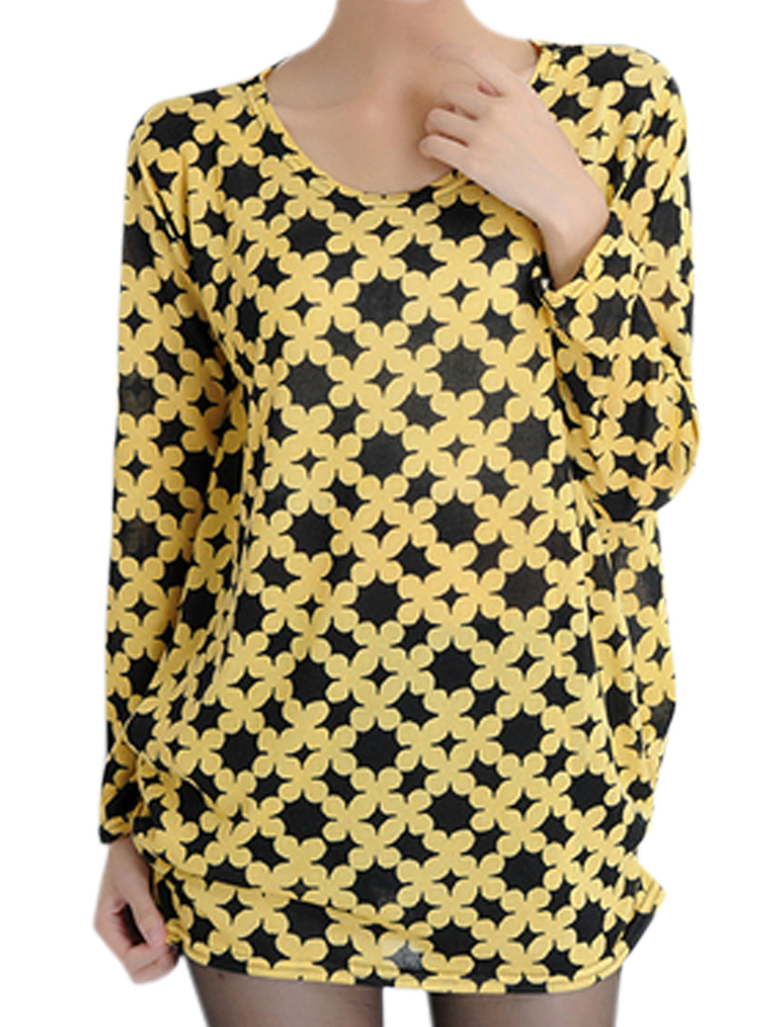 Women Flower Pattern Round Neck Long Sleevse Tunic Knit Top Black Yellow S
