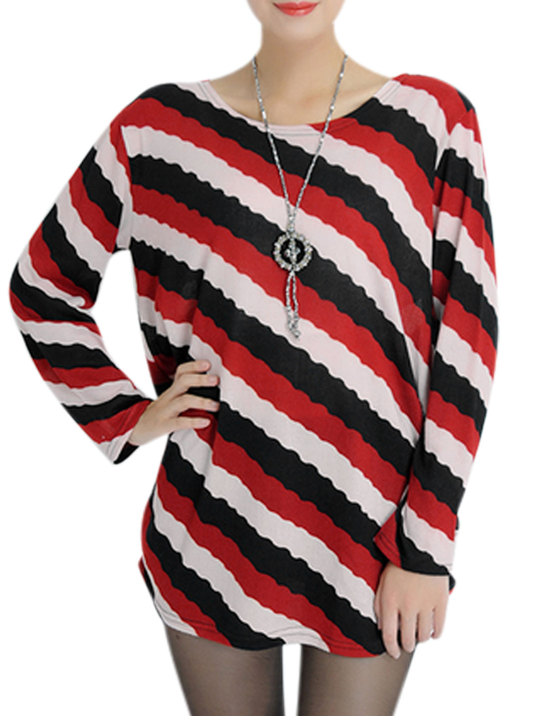 Women Long Sleeves Round Neck Stripes Tunic Knit Top Multicolor S