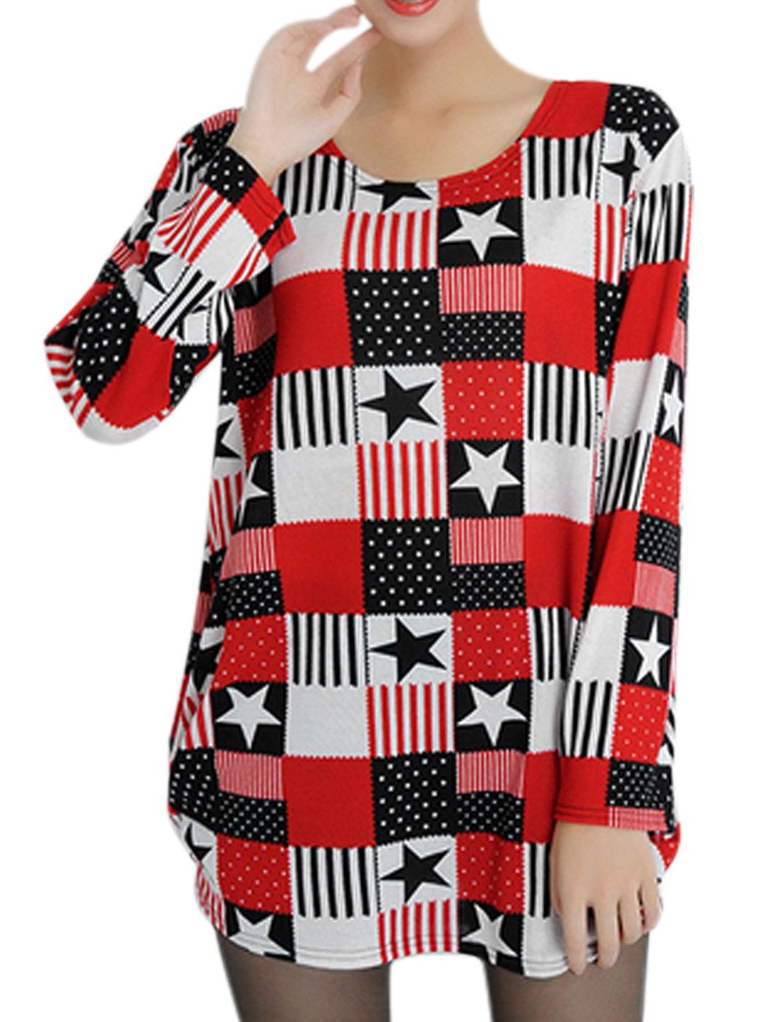 Women Stars Plaids Pattern Shirred Sides Tunic Knit Top Black Red S