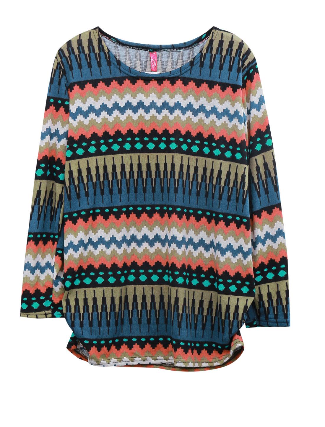 Women Zig-Zag Novelty Pattern Round Neck Tunic Knit Shirt Multicolor S