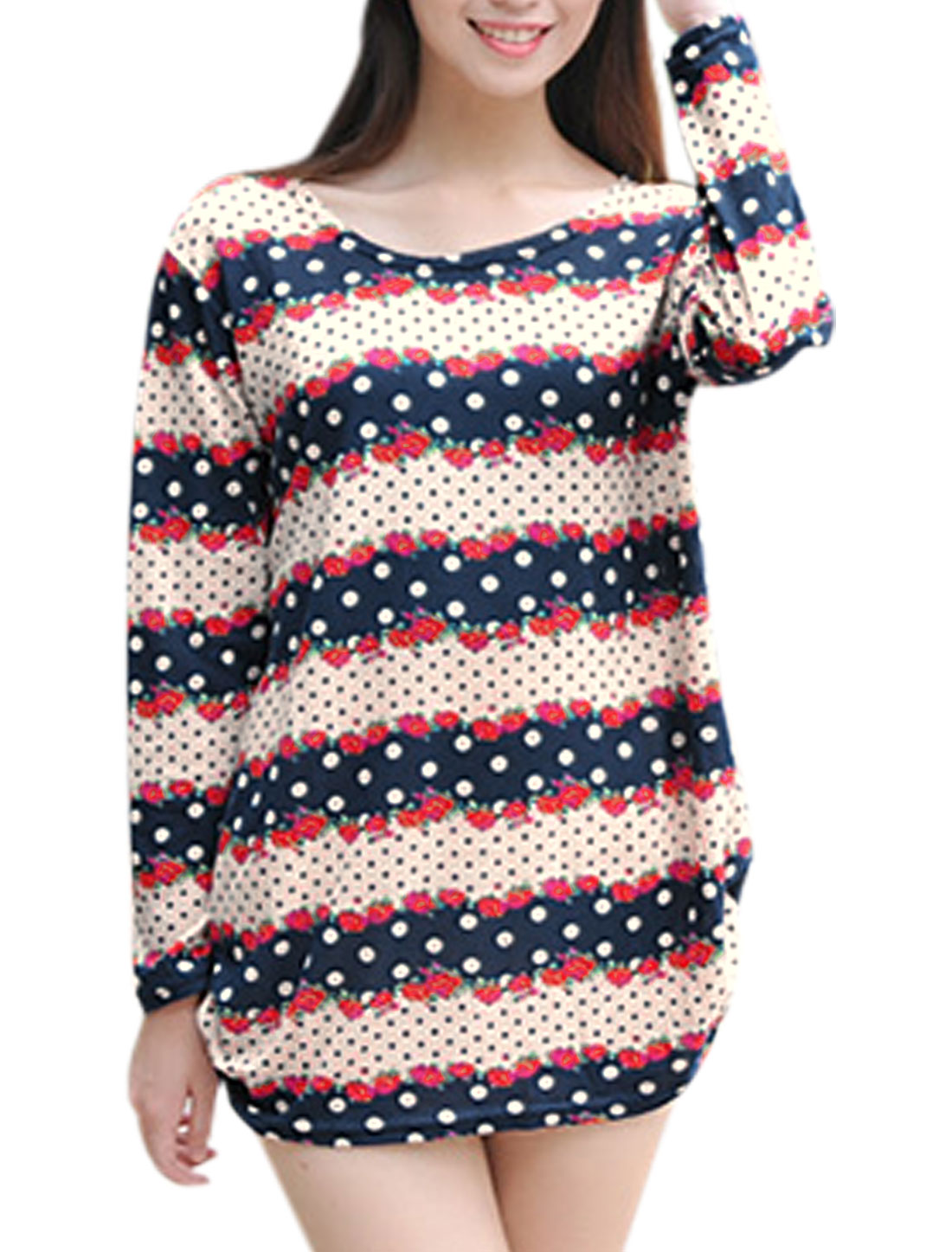 Women Strawberry Dots Long Sleeves Tunic Knit Shirt Navy Blue Beige S