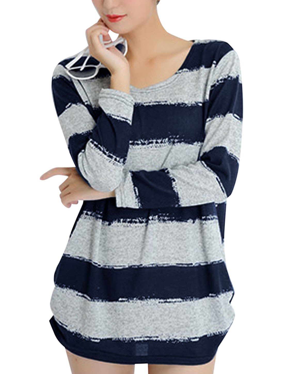 Women Stripes Long Sleeves Shirred Sides Tunic Knit Top Navy Blue Gray S