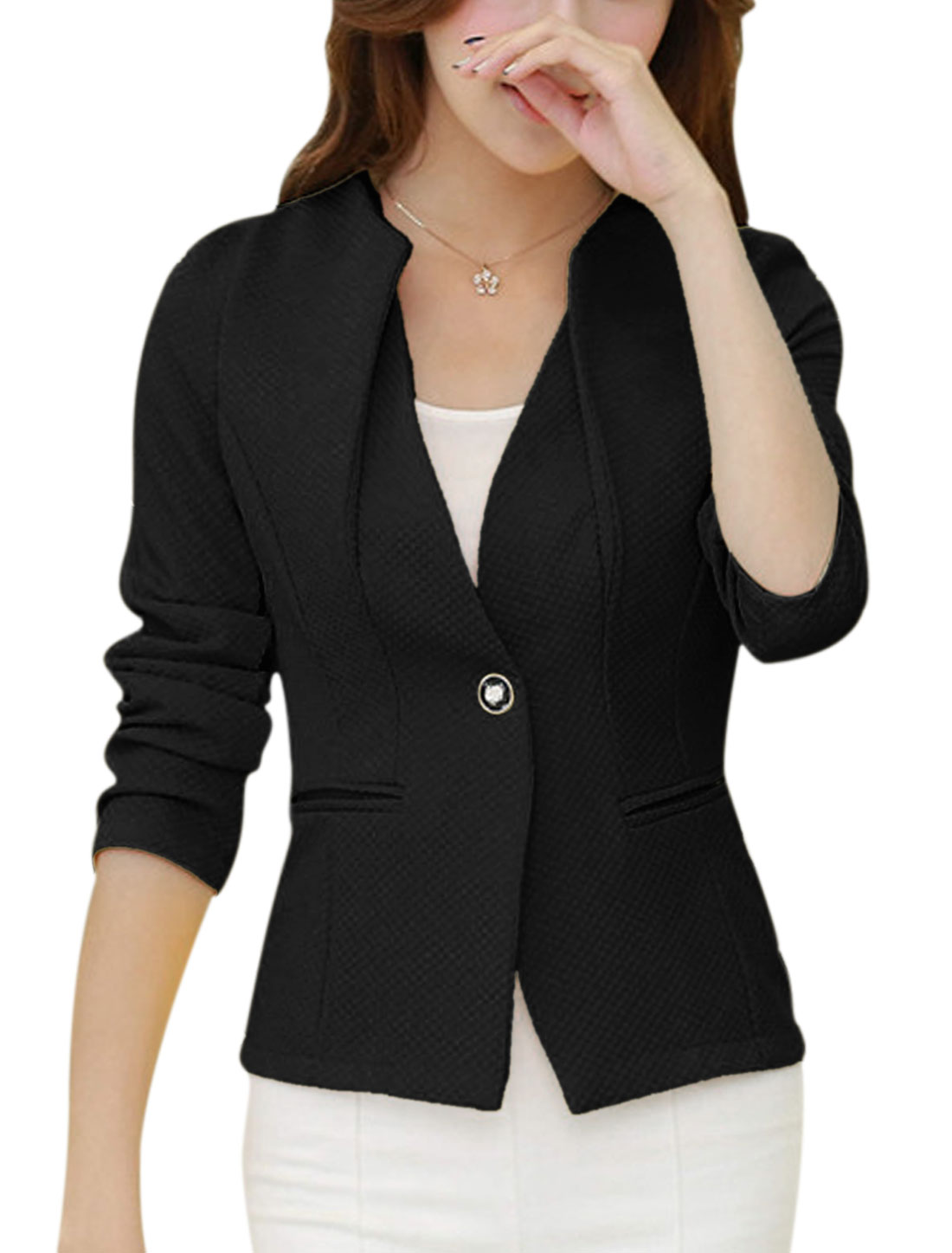 Women Long Sleeves One Button Front Slim Fit Blazer Jacket Black S