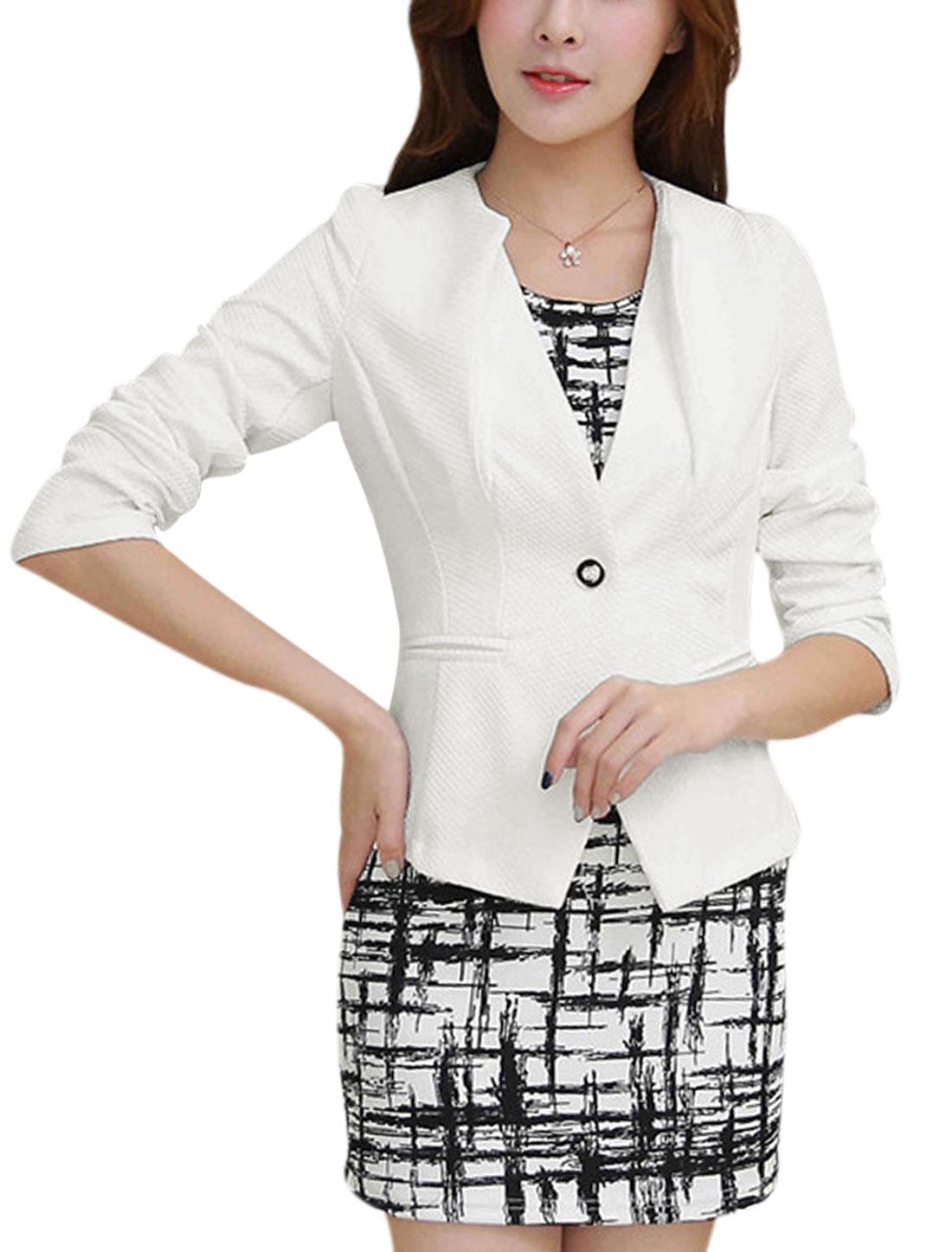 Ladies Button Closed Front Round Neckline White Blazer Jacket S
