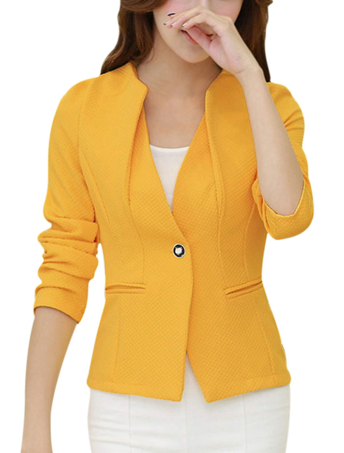 Padded Shoulder One Button Closed Yellow Blazer Jacket for Lady S