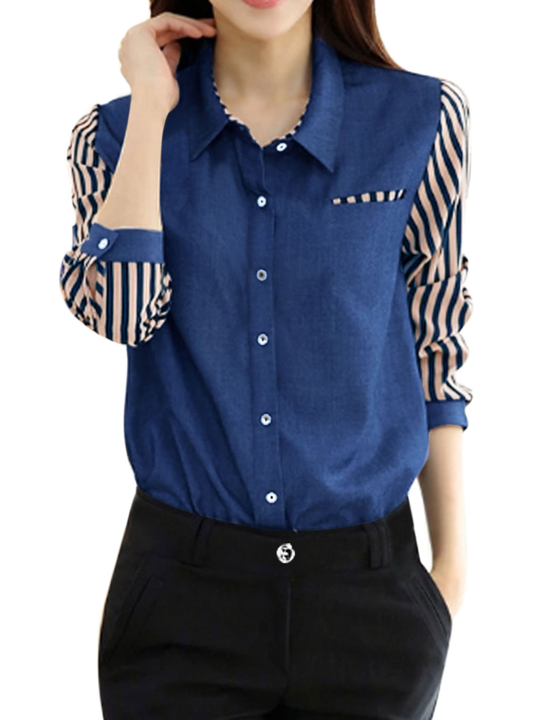 Women Single Breasted Chiffon Panel One Bust Pocket Denim Shirt Blue S