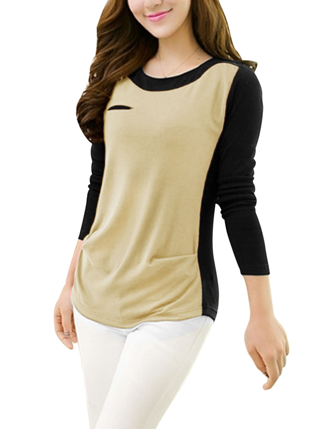 Lady Contrast Color Fake Bust Pocket Decor Long Sleeve Top Cream-Beige Black S