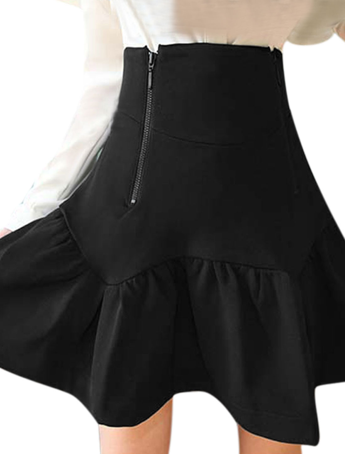 Lady High Waisted Double Zippers Back Leisure Mini Skirt Black XS