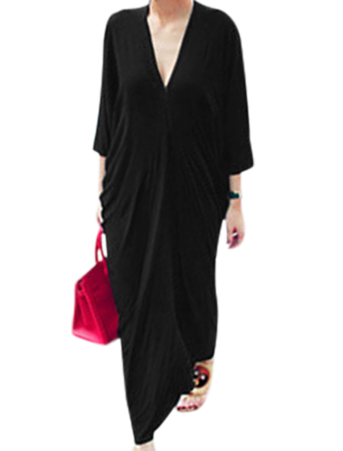Lady Deep V Neck Ruched Detail Loose Fit Casual Maxi Dress Black M