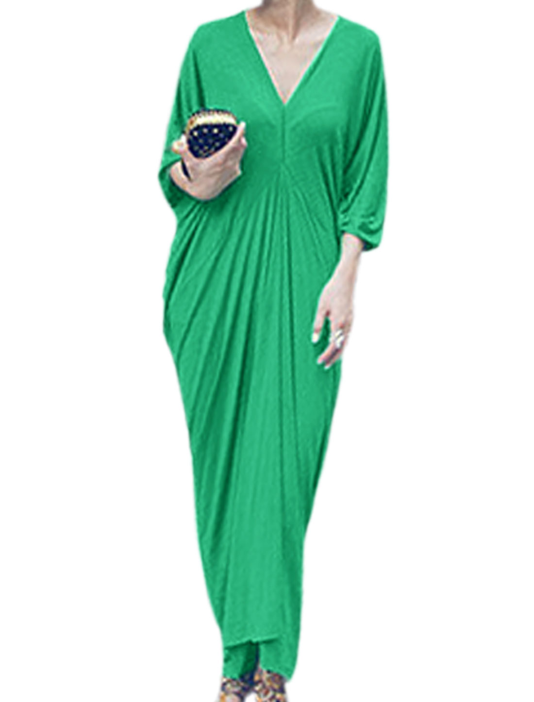 Lady Pullover Deep V Neck Design Fashion Maxi Dress Green M