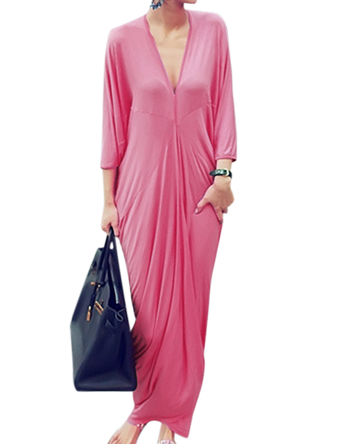 Loose Fit Stylish Deep V Neck Batwing Sleeve Maxi Dress for Lady Pink M