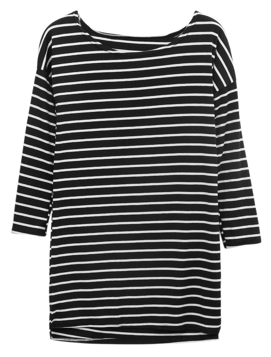 Women Stripes Boat Neck Long Batwing Sleeves Tunic Top Black S