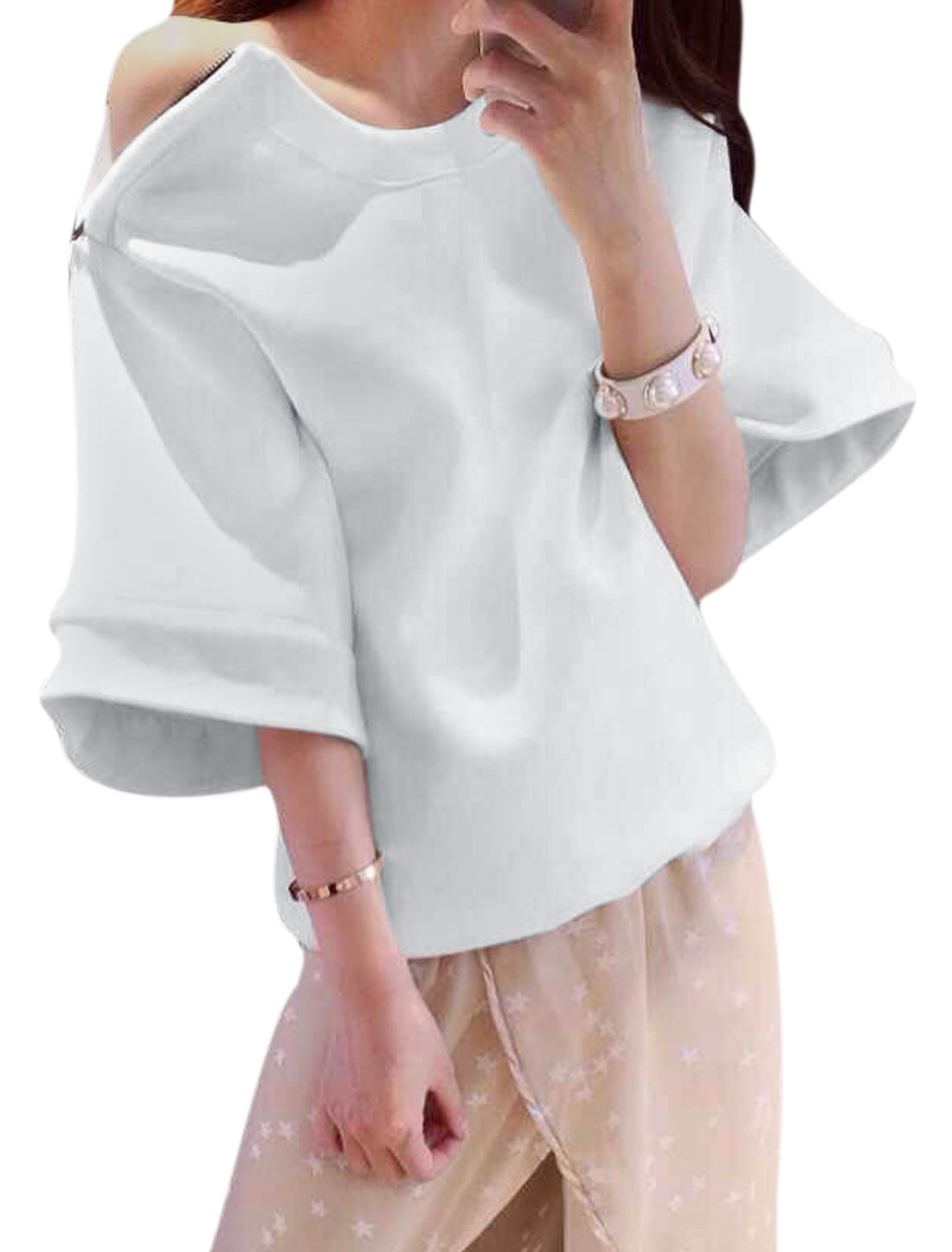 Women Round Neck Short Sleeves Zip Up Shoulder Top White XS